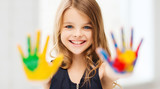 Fototapety smiling girl showing painted hands
