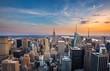New York City midtown skyline at sunset.