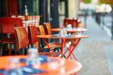 Table of traditional outdoor French cafe in Paris