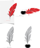 Feather and inkwell. Elements for the literary design poster