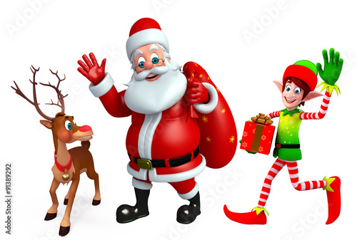 Santa claus with reindeer and elves