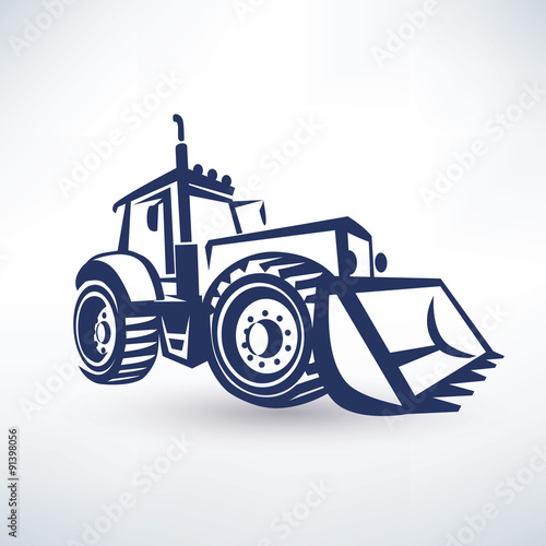 Poster tractor stylized vector symbol, isolated silhouette