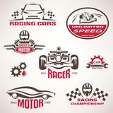 race cars, racing emblem and label set, vector symbols collectio
