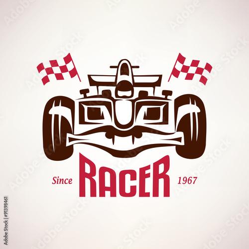 Poster formula racing car emblem, race bolide symbol