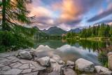 Mountain lake Strbske Pleso in National Park High Tatra, Slovaki
