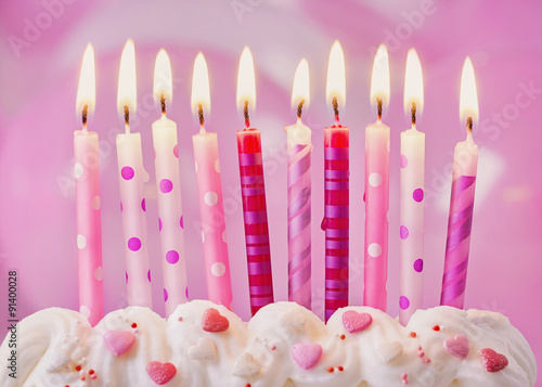 Poster Birthday candles and balloons