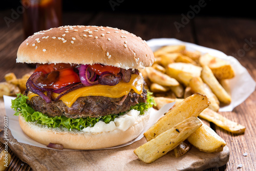 Fototapeta Beef Burger with Cheese and Chips