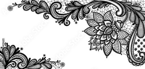 Black lace vector design.