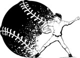Boy Pitcher with Splatter Baseball