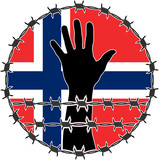 violation of human rights in Norway. raster variant poster