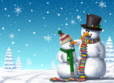 Christmas Snowman Friends - Digital Illustration