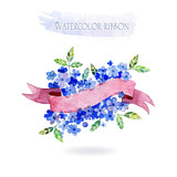 Watercolors ribbons and banners for text. Frame with flowers. Hand drawn elements for design.