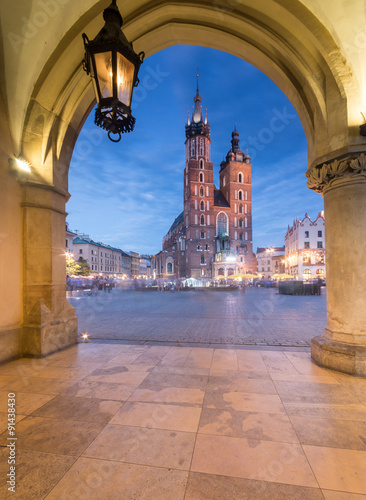 Krakow, Poland, St Mary's church seen from Sukiennice (Cloth hall) attic on the Main Market Square © tomeyk
