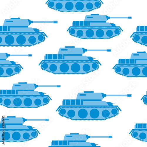 Cute Blue Tank seamless pattern. Vector military background. Arm © maryvalery
