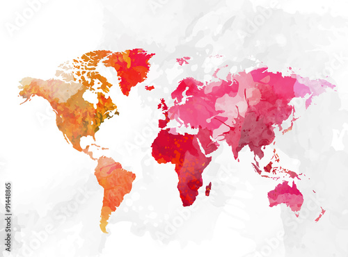 Poster World map watercolor background vector illustration