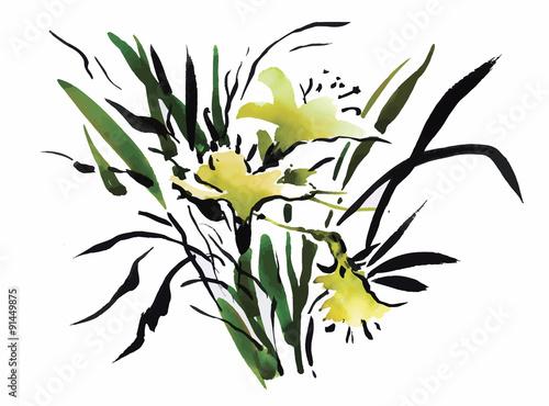Naklejka Watercolor garden flowers isolated on white background, Japanese