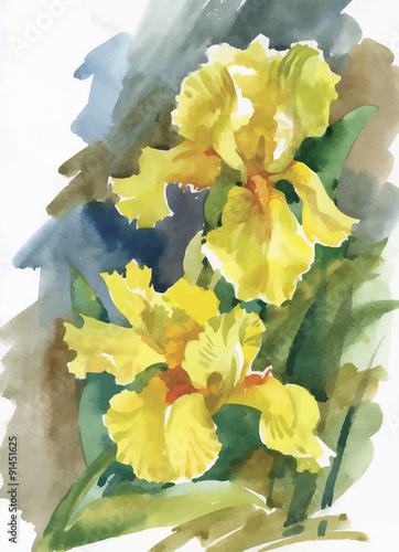 Plakat Watercolor flowers in classical style on a white background