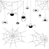 Fototapety Set vector spiders and webs isolated on white background