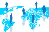 Silhouettes of people on the blue cartography. poster