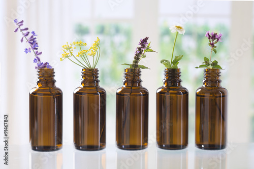 Fotobehang Lavendel Huiles essentielles