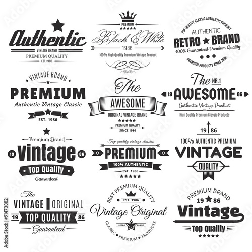 Twelve Vintage Insignias Or Labels