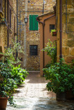 Beautiful streets of the medieval Tuscan village in Italy, Pienz