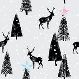 winter forest hand drawn trendy pattern