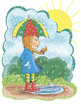 Постер, плакат: Девочка дождь зонт лужа