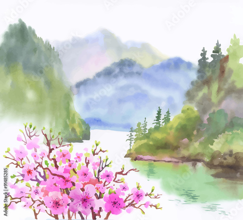 akwarela-krajobraz-rzeki-z-kwiatami