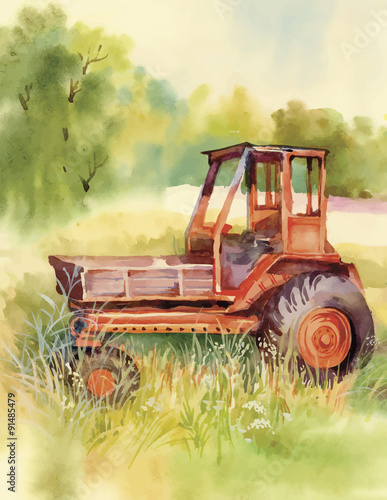 Fotobehang Tuin Watercolor tractor Machine in yard. Equipment on the village