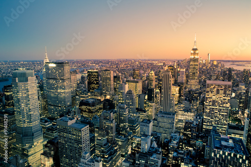 Fototapety, obrazy : Manhattan New York City Cityscape skyline at dusk