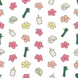 Seamless colorful background with spa stuff