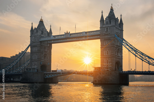 View of famous Tower Bridge at sunrise