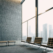 Modern meeting room with panoramic view. 3d render