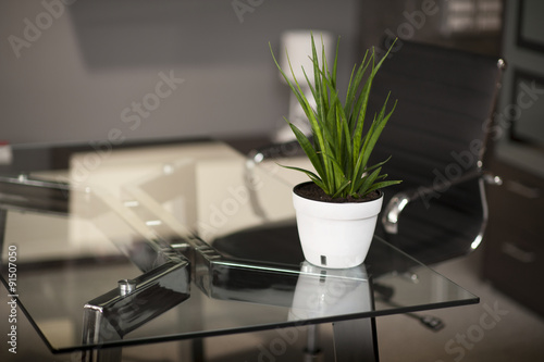Glass table in modern office,...