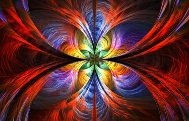 abstract multicolored fractal with swirls over black background