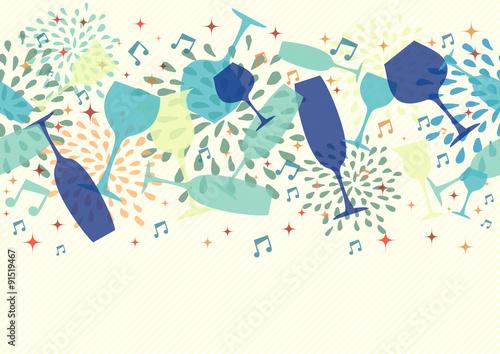Fototapeta Cocktail glass party seamless pattern background