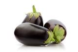 Fresh Three Eggplant isolated on white background