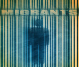 barcode with human icon and migrants text poster