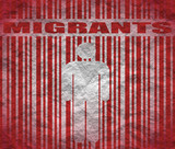 human on barcode and migrants text poster