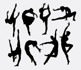 Fototapety Dancer male and female silhouettes