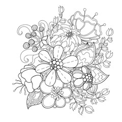 Doodle art flowers. Zentangle styled hand-drawn flowers and leaves decorative design element.