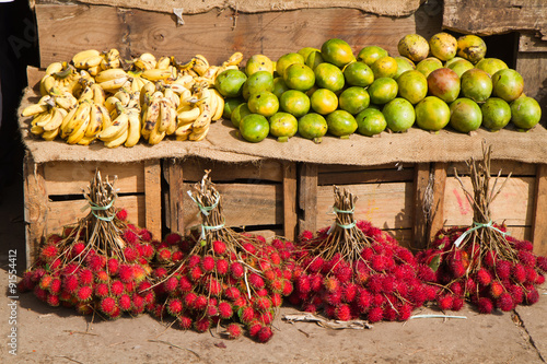 Zanzibar market place fruit stand