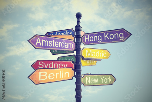Directional City Signs Poster