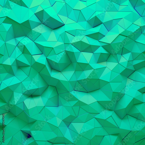 Fotobehang 3d Achtergrond Abstract green 3D geometric polygon facet background mosaic made by edgy triangles