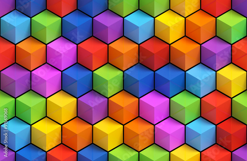 Fotobehang 3d Achtergrond Colorfull 3D geometric boxes background - vibrance cubes seamless pattern