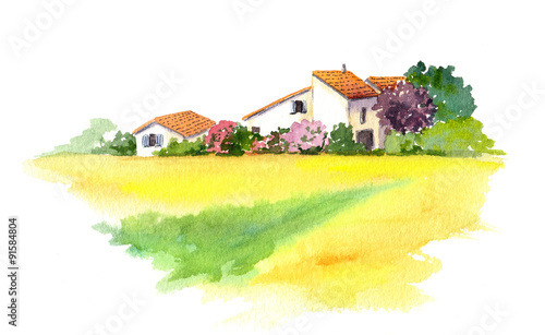 Rural house and yellow field in Provence, France. Watercolor © zzorik