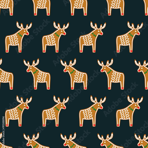 Cotton fabric Seamless pattern with Christmas gingerbread cookies - xmas deer. Cute winter holiday vector design xmas background.