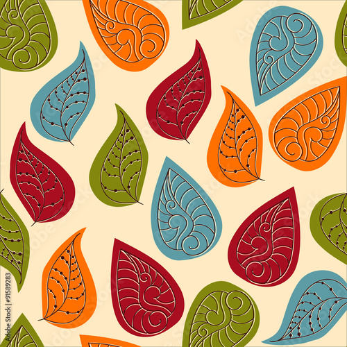 Panel Szklany Vector Seamless Pattern with Autumn Leaves