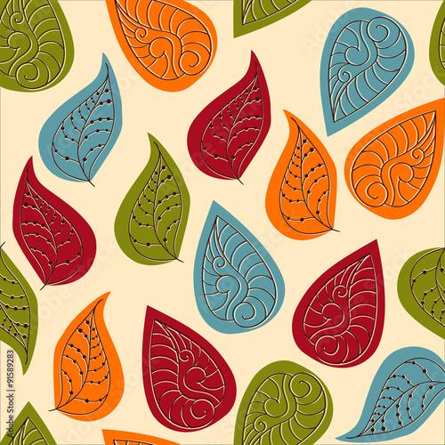 Fototapeta Vector Seamless Pattern with Autumn Leaves
